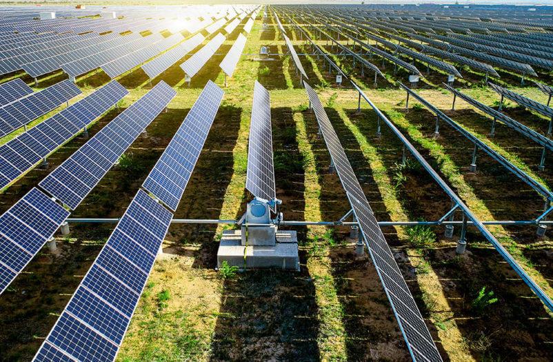 solar panels in the sun