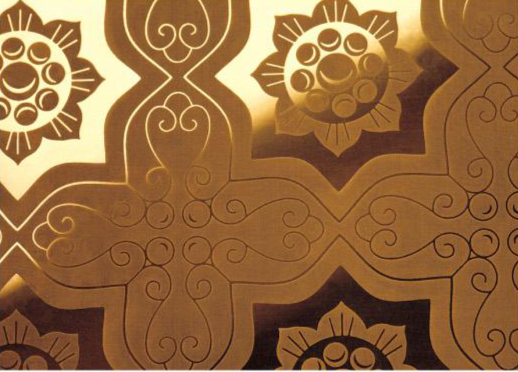 gold etching patterned metal