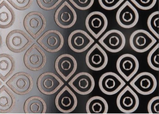 black etching patterned metal